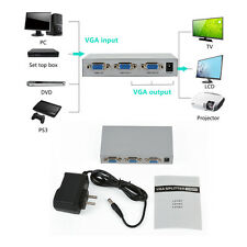 2 Port 1 PC To 2 Monitors TV  VGA SVGA XGA Video Switcher Splitter Box Adapter