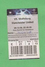 ORIG. biglietto CHAMPIONS LEAGUE 2009/10 VfL Wolfsburg-MANCHESTER UNITED!!!
