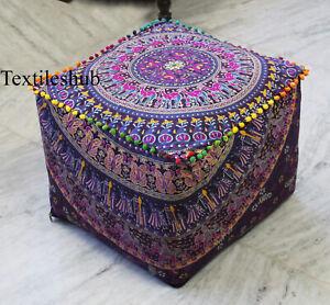 Square Pouffe Seat Indian Handmade Mandala Cotton Ottoman Pouf Cover Footstool