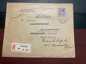 Netherlands #189 On Registered Cover To Michigan, Backstamp New York, Forwarded