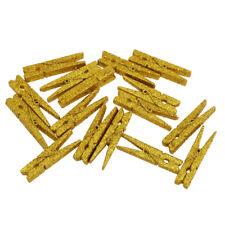 20Pcs Mini Craft Pegs Clothes Peg Wood Sequins Clothespin Clips Art Gold