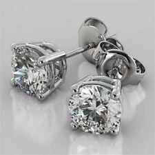 6mm Solitaire Moissanite 4 Prong Stud Earrings 14k White Gold Finish For Womens