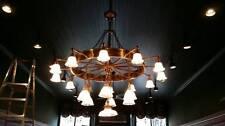 Antique Wagon wheel Brass Glass Chandelier Architectural Salvage Mid Century
