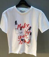 STELLA MCCARTNEY 'Make Up Your Mind' Tee Shirt Top Sz 38 Aust10 Cotton EXC COND
