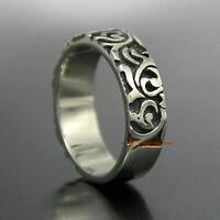 Vintage Silver 316L Stainless Steel Vines Cast Men's Women's Band Ring 7mm