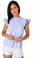 Q89 - Ladies Girls Sky Blue Stripe Ruffle High Neck Peplum Blouse Top (8-12)