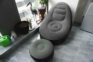 NEW GREY INFLATABLE DELUXE LOUNGER & FOOTSTALL SEAT RELAX COUCH CHAIR
