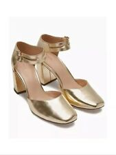 New💕Next💕Size 5 Metallic Gold Square Toe Heel Shoes Sandals (38 EU)Ankle Strap