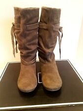 Suede Leather Slouch Boots-MIA-Women's Size 6 Medium-Taupe-Flat Heel- New in Box