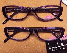 Lot 2 Nicole Miller Women Willow Purple Spring Hinge Reading Glasses +2.50