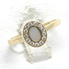 Vintage 14k Mother of Pearl Oval Ring yellow gold Cubic Zirconia Halo Dainty!