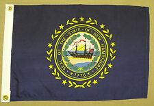 "New Hampshire State Indoor Outdoor Dyed Nylon Boat Flag Grommets 12"" X 18"""