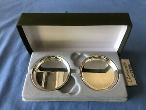 """Pair Of Christofle France Silverplated Small Cup Holders /  Ashtrays 2""""7/8 X 5/8"""