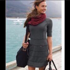 Athleta Strata Zipper Dress Women Medium Gray Mini Short Sleeve M