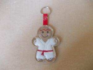 Karate Gingerbread (Red Belt) Keyring Felt  Embroidered Appliqué - Handmade
