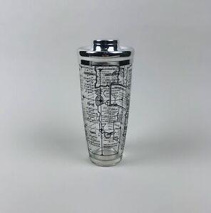 VIntage Irvinware MCM Glass Cocktail Shaker Black Drink Recipes Barware USA