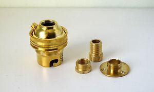 "Brass table lamp Kit B22 BC bayonet cap fitting 1/2"" C/W wood screw 10mm adaptor"