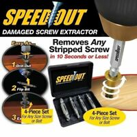 4 Pcs Speed Out Screw Extractor Drill Bits Tool Set Broken Damaged Bolt Remover