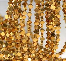 "6X6MM GOLD HEMATITE GEMSTONE DIAMOND SQUARE 6X6MM LOOSE BEADS 16"""