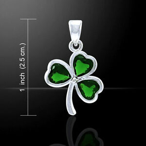 Celtic Shamrock .925 Sterling Silver Emerald Glass Pendant by Peter Stone