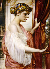 Oil painting Edward John Poynter - Young lady standing by the window in sunset