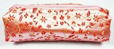 MakeUp Cosmetics Bag Pink & Red Silk Embroidery Womens Make Up Storage Handbag