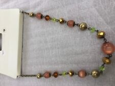 Short beaded necklaces in gold bronze Amber  yellowy green deep gold chain