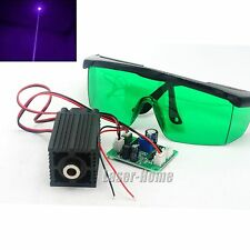 405nm 100mW 12V Bule/Violet Focusable Dot Laser Diode Module TTL +Safety Goggles