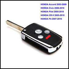 2003-2010 Honda 4 Button Flip Key Case Remote Fob For Accord Pilot Civic CRV Fit