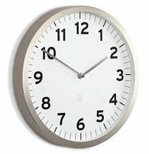 Umbra ANYTIME WALL CLOCK Chrome WHITE 32cm in diam