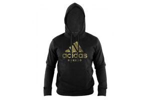 Hoodie Mens Adidas Boxing Black Gold Logo Gym Casual Hoody