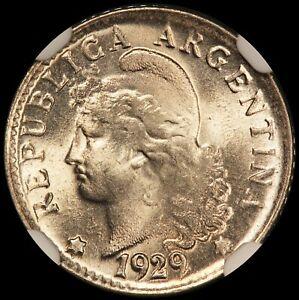 1929 Argentina 5 Centavos Coin - NGC MS 65+  KM# 34