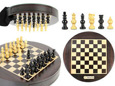 """Magnetic Round Drawer Rosewood Chess Set 9"""" - Globe Chess pieces in Ebony Wood"""