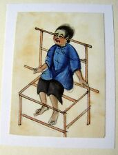 CHINESE RICE PUNISHMENTS PRISONER SEATED ON DISCIPLINE CHAIR W/COL C1860