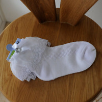 2 Pairs of Girls Frilly Lace Socks School Socks Ankle High White Size S/M/LP0303