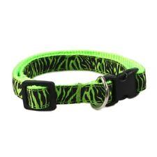 GREEN BLACK STRIPE Small Adjustable Dog Collar Pet