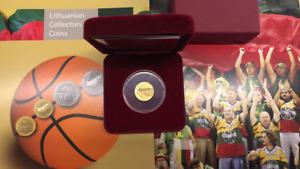 2011 Lithuania  50 Litas  gold coin  Basketball