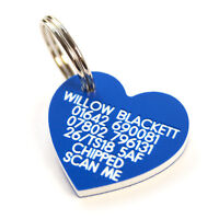 Engraved lightweight durable Plastic Dog ID tag medium heart 30mm x 27mm