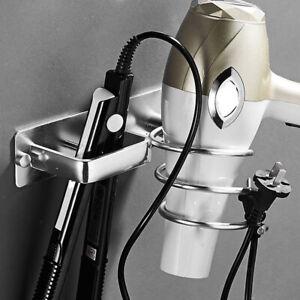 Aluminum Hair Dryer Straightener Holder Storage Organizer Hook Rack Salon Tool