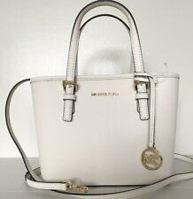 New Michael Kors Jet Set Travel S Top zip Tote handbag Leather Optic White