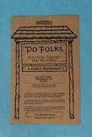 VINTAGE 1983 PO FOLKS SOUVENIR RESTAURANT DINNER MENU SACRAMENTO, CALIFORNIA