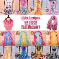 160cm 50cm Flowers Floral Fashion Ladies Scarves Chiffon Scarf Womens Shawls