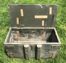 "Vtg 1930s 40s US Military Wood & Iron Ammo Crate Chest Latching Box 24""x 12""x 12"