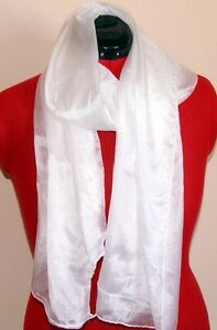 White silk scarf ready for painting or dyeing. 180 x 55 Pongee 5mm 100% silk.