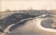 Dalton (West Le Mars) IA Lady Sits on Bridge~W Branch of Floyd River~RPPC c1910