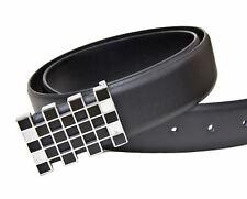 Kenneth brownne Para Hombre Negro Cinturón Negro Con Plata De Diseñador Hebilla-Nuevo