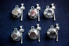 6 Top Hat and Cane Charms Mad Hatter Silver Tone Metal 26mm