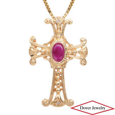 Estate Ruby 14K Yellow Gold Cross Pendant NR
