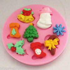 Christmas Shapes Silicone Mould Party Cakes Sugarcraft Fondant Snowman Tree Bell