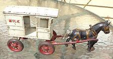 antique cast iron horse drawn milk wagon toy